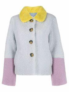 Saks Potts colour block fur coat - Blue