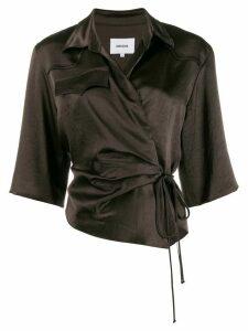 Nanushka double-breasted cropped sleeve blouse - Espresso