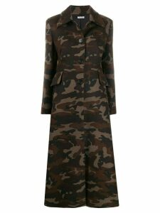 Miu Miu camouflage button-front coat - Green