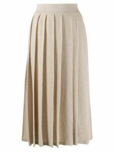 Agnona cashmere knitted pleated skirt - Neutrals