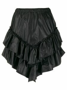 SO ALLURE asymmetric tiered short skirt - Black