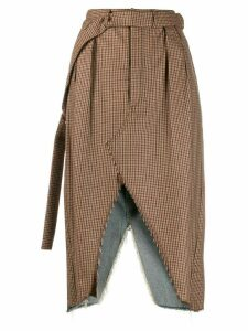 Unravel Project mixed material skirt - Brown