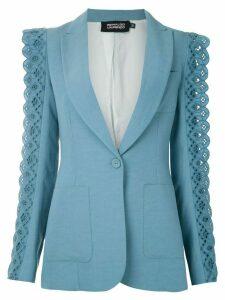 Reinaldo Lourenço laise embroidery appliqué blazer - Blue