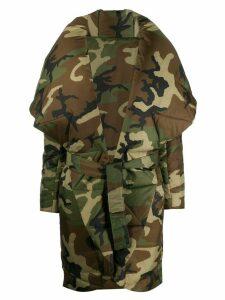 Norma Kamali camouflage-print oversized coat - Green