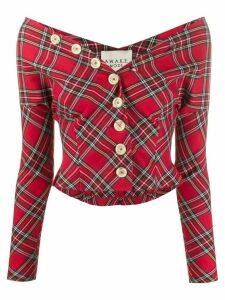 A.W.A.K.E. Mode buttoned tartan blouse - Red
