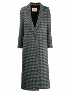 Twin-Set houndstooth single breasted coat - Grey