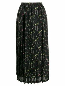 Junya Watanabe floral-print pleated skirt - Black