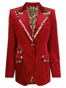Dolce & Gabbana leopard print trimmed blazer - Red