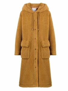 STAND STUDIO hooded shearling coat - Brown