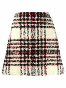 Tory Burch plaid tweed a-line skirt - White