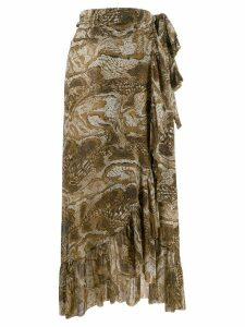 Ganni ruffled trim snakeskin print skirt - Brown