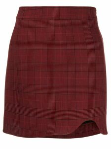 Ganni checked asymmetric skirt - Red