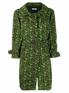 Prada heart print trench coat - Green