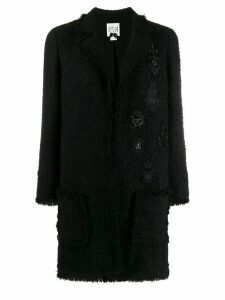 Edward Achour Paris metallic thread tweed coat - Black