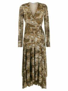 Ganni V-neck snakeskin print dress - Brown