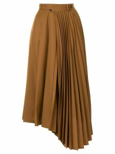 Le Ciel Bleu asymmetric pleated midi-skirt - Brown
