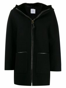 Agnona hooded zip-up coat - Black