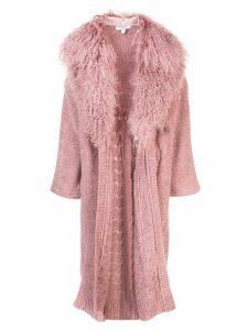 Cushnie Woodrose chenille cardi-coat - PINK