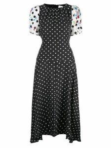 Tanya Taylor polka dot flared Cassandra dress - Black
