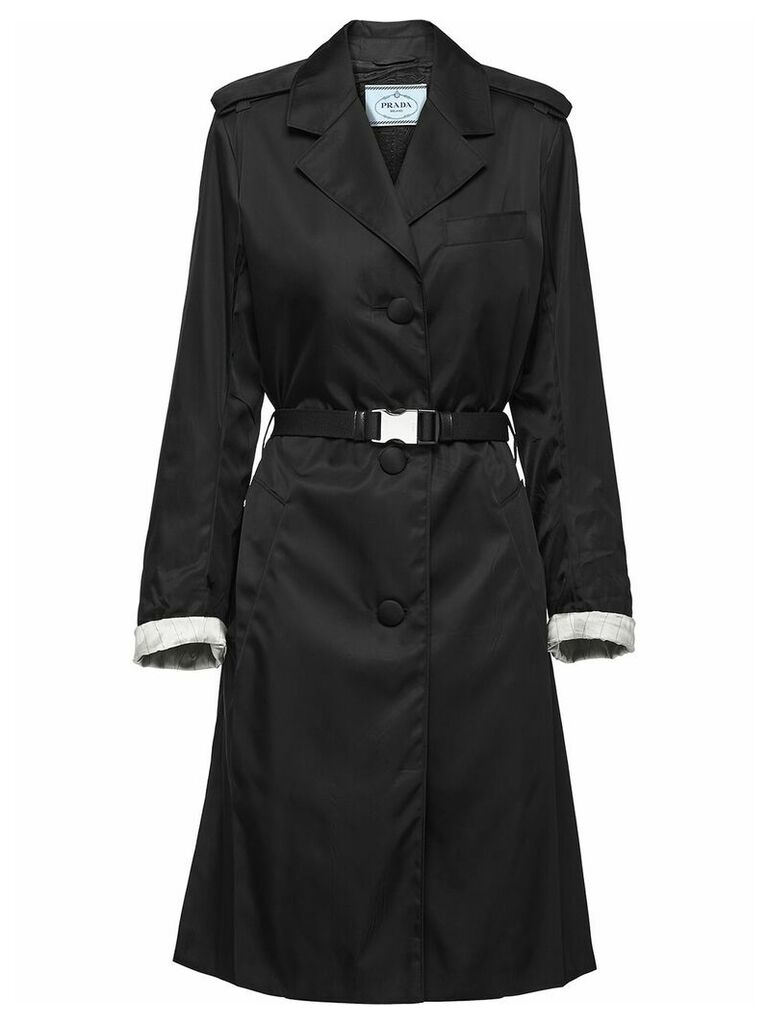 Prada buckled nylon gabardine coat - Black
