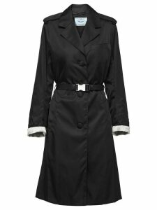 Prada buckled nylon gabardine coat - Black