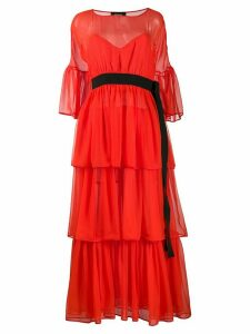 Rochas belted ruffled dress - Red
