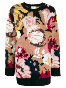 Ballantyne oversized floral-intarsia jumper - Pink