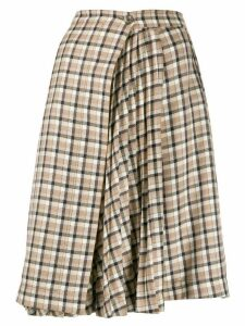 Paco Rabanne checked pleated panel skirt - Brown