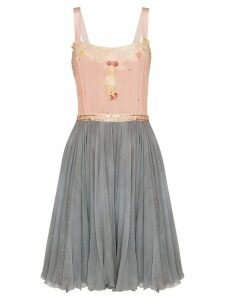 One Vintage two-tone floral-appliquéd dress - Pink