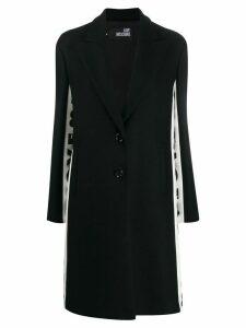 Love Moschino side-stripe logo print coat - Black