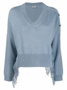 LIU JO cropped v-neck jumper - Blue