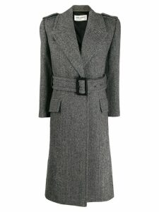 Saint Laurent oversized belted herringbone coat - Grey