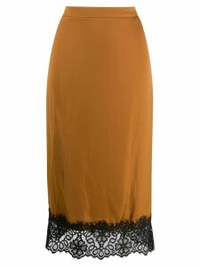Essentiel Antwerp lace-trimmed pencil skirt - Brown