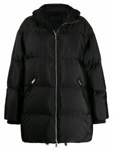 Prada feather down zipped long coat - Black