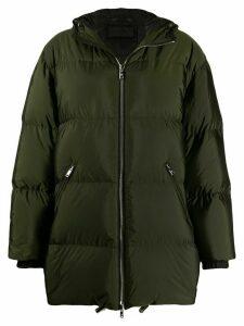 Prada feather down zipped long coat - Green
