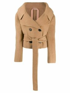Nº21 off the shoulder double-breasted jacket - Brown