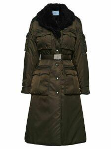 Prada gabardine belted coat - Green
