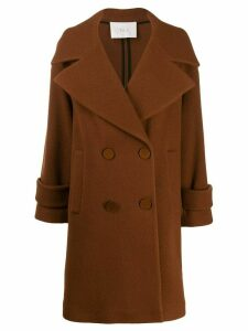 Tela textured boxy double-breasted coat - Brown