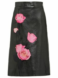Prada floral-print high-waisted skirt - Black