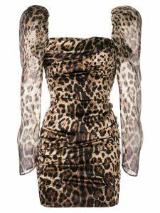 Dolce & Gabbana leopard print puff shoulder dress - Brown