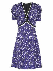 Miu Miu bow-embellished floral-print dress - Blue