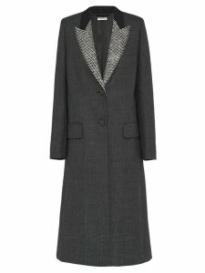 Miu Miu single-breasted checked overcoat - Grey