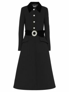 Miu Miu crystal-studded buckle coat - Black