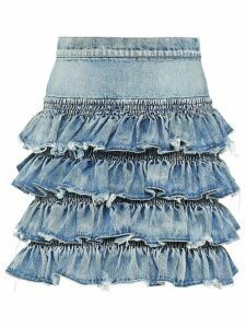 Miu Miu Iconic ruffled skirthigh - Blue