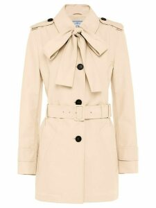 Prada pussy bow trench coat - Neutrals