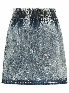 Miu Miu Marbleized denim skirt - Blue