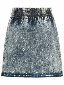 Miu Miu Marbleized denim skirt - Blue