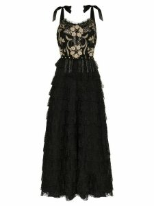 One Vintage floral embroidered lace dress - Black