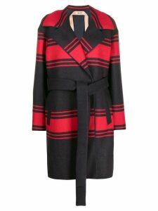 Nº21 loose-fit striped coat - Blue