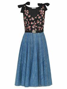 Miu Miu floral-print pleated dress - Blue